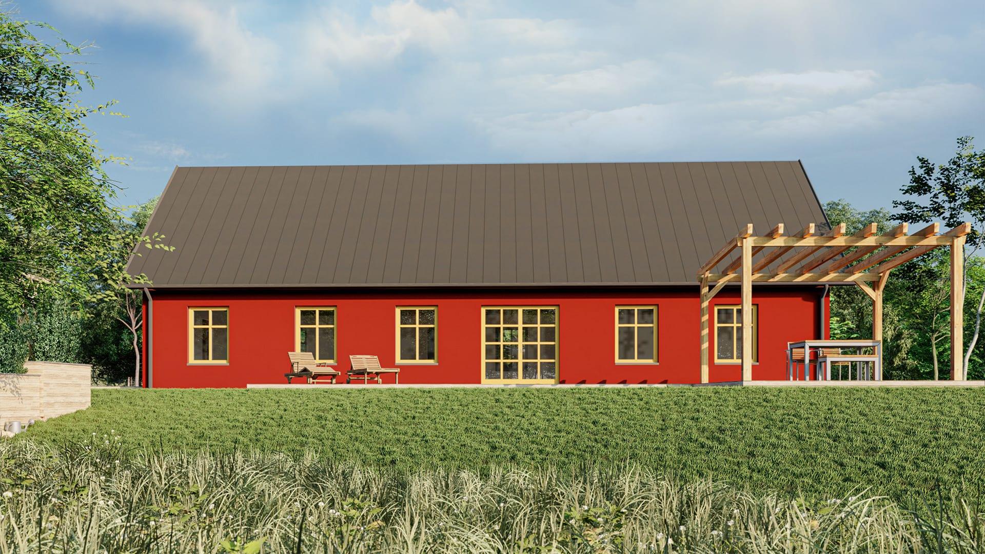 Enplanshus rakt 114 kvm i traditionell stil, 3 sovrum, AChoice stenhus