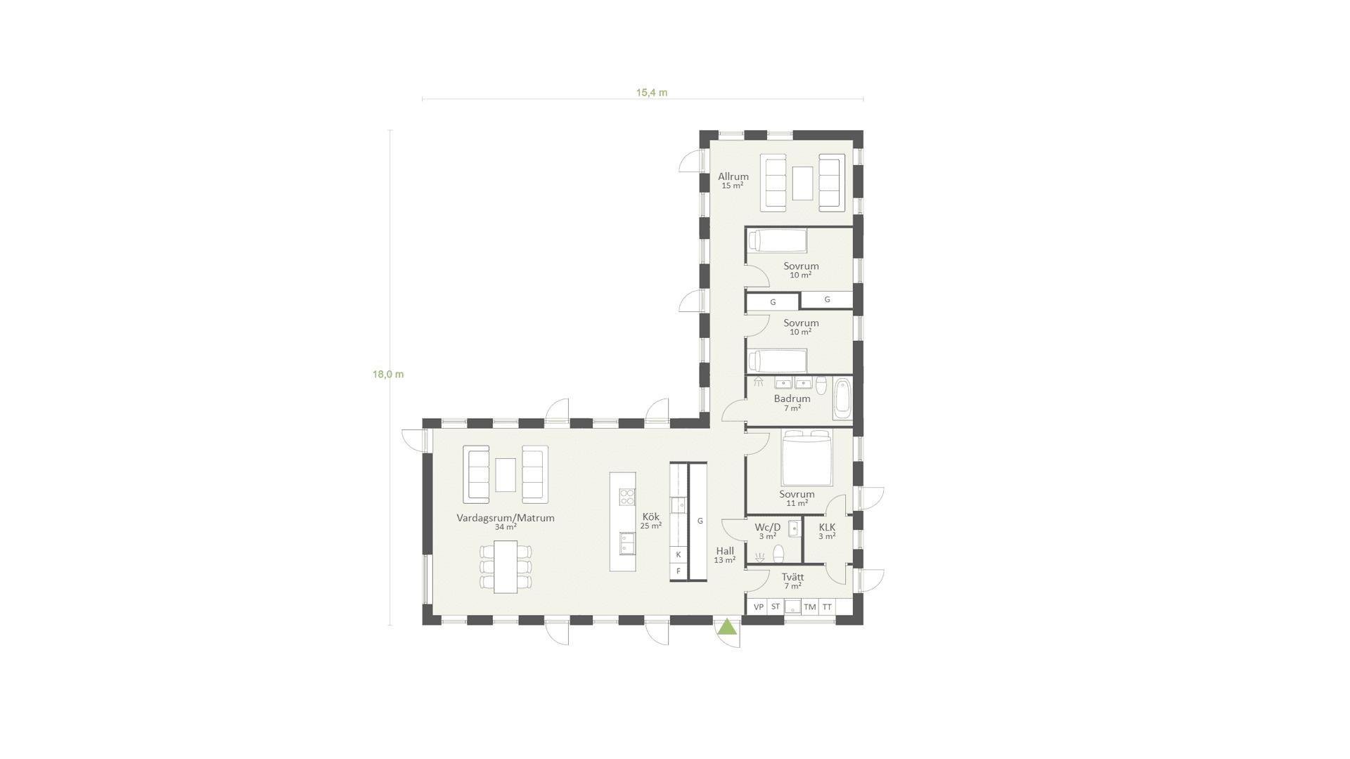 Planlösning enplanshus, Funkis 04, 153 kvm, 3 sovrum