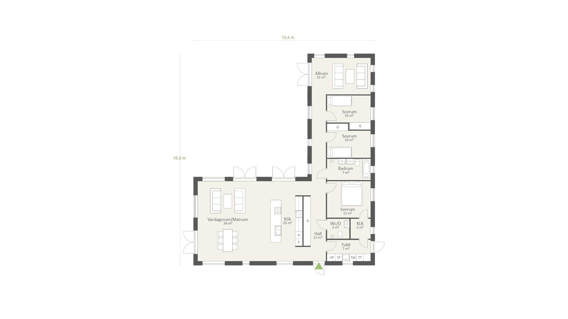 Funkishus Enplanshus-153kvm-3sovrum-Planlösning-AChoice-stenhus