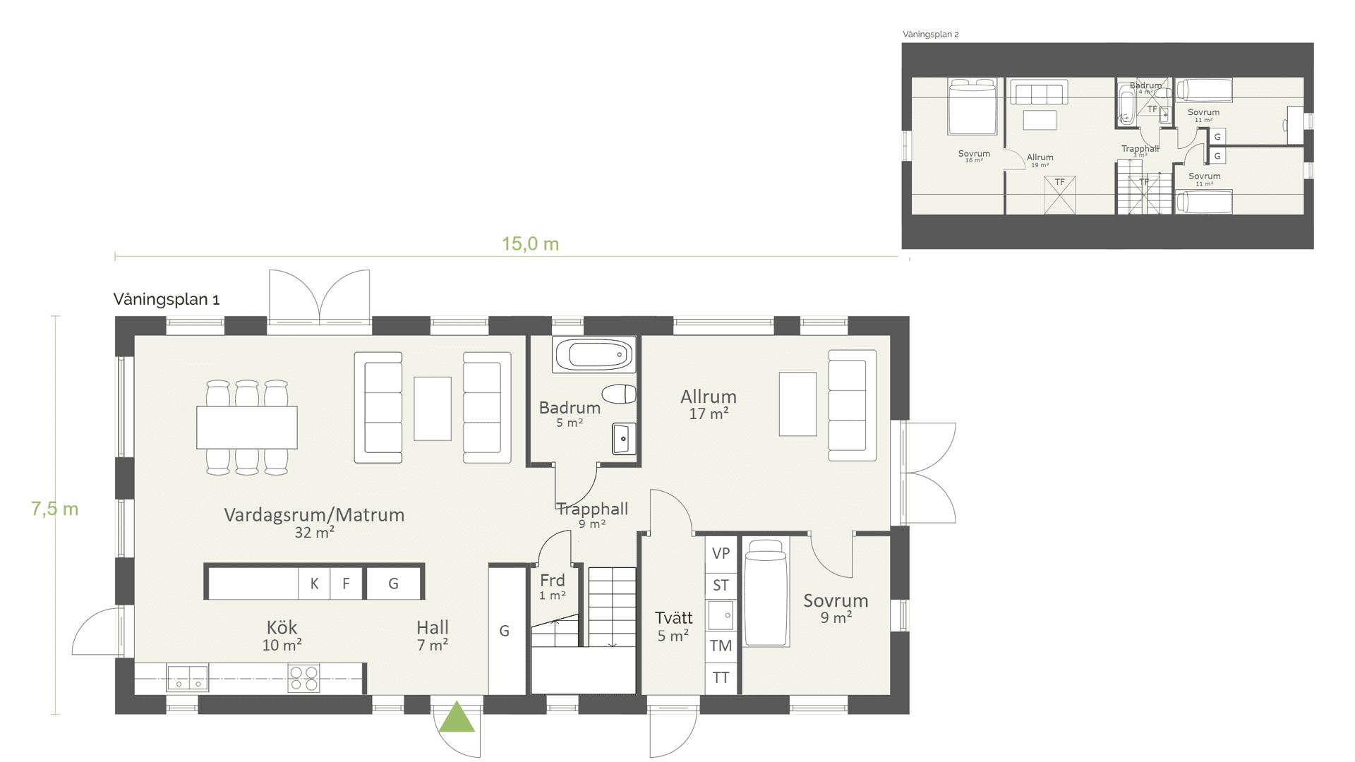 Planlösning 1,5-planshus 169 kvadratmeter Modern 01 AChoice stenhus
