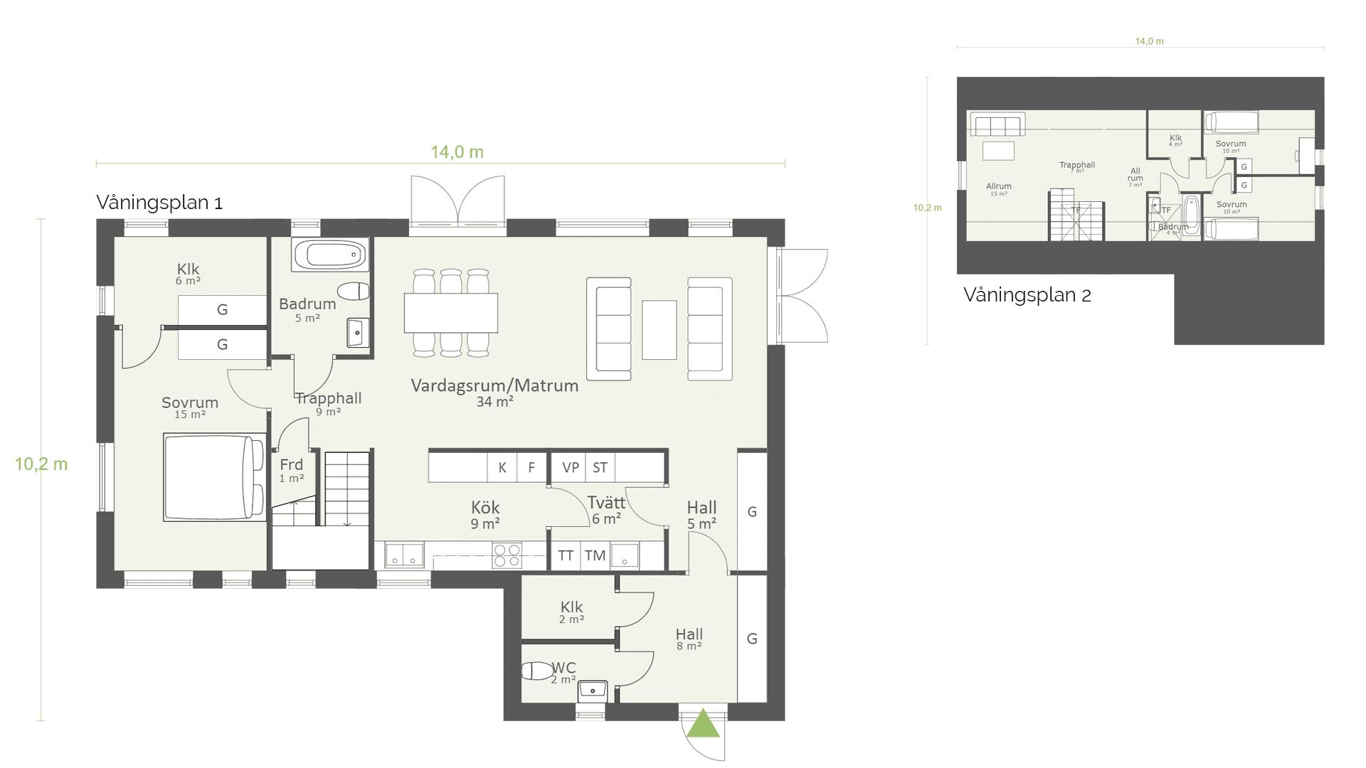 Planlösning 1,5-planhus stenhus 170 kvm - AChoice stenhus