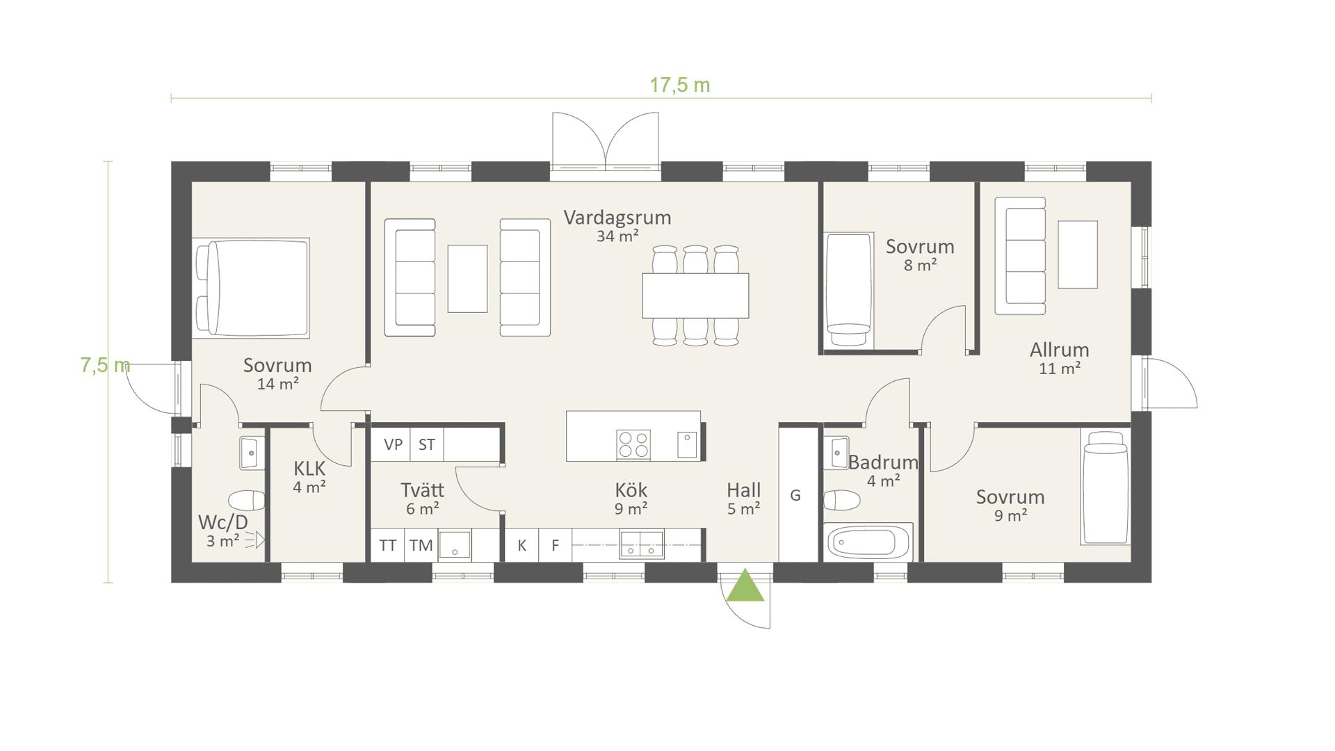 Planlösning enplanshus på 114 kvm och 3 sovrum, AChoice stenhus