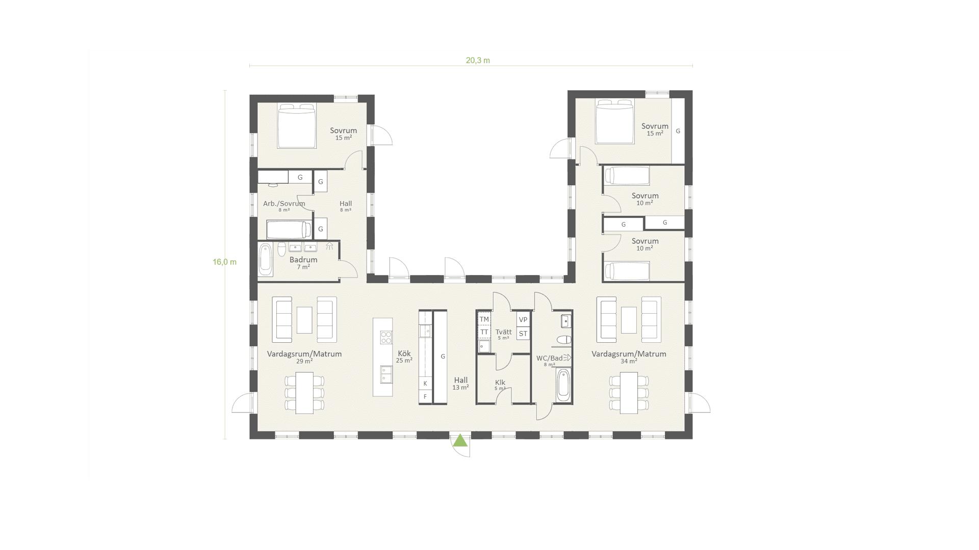 Planlösning Enplanshus i U-form, Traditionell 04, 218 kvm, 5 sovrum