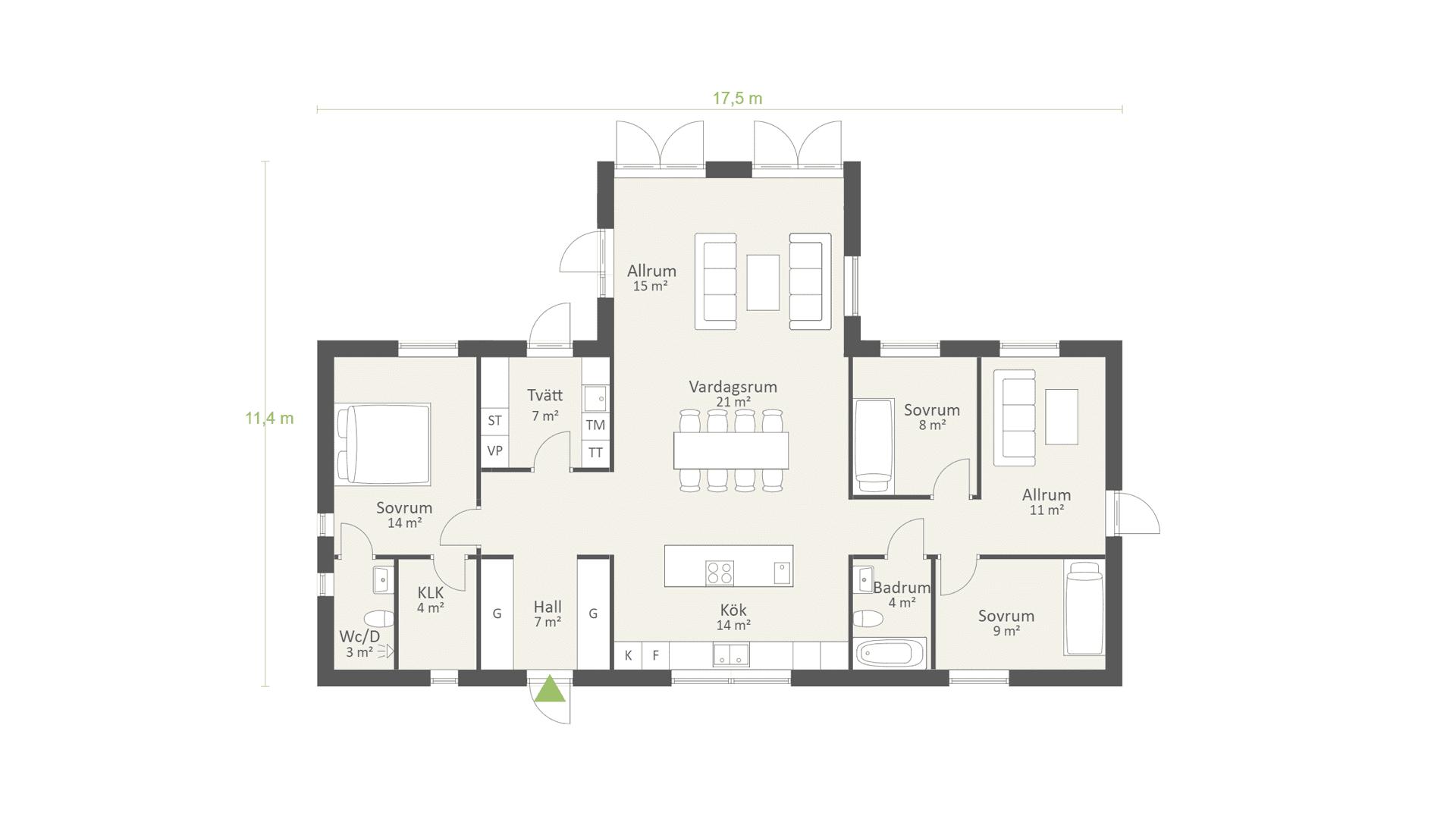 Planlösning enplanshus i T-form på 130 kvm och 3 sovrum, industriell stil - AChoice stenhus